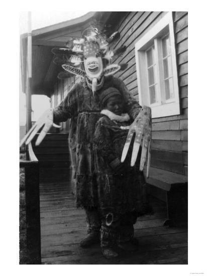 Eskimo Medicine Man and Sick Boy in Alaska Photograph - Alaska-Lantern Press-Art Print