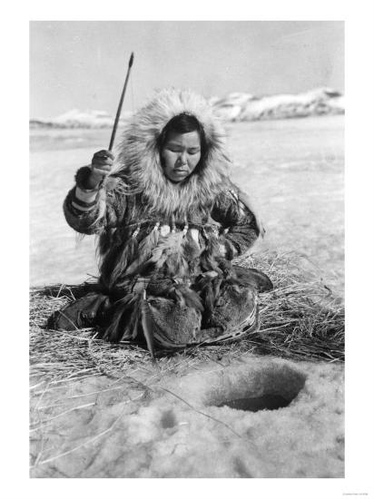 Eskimo Woman Fishing through Ice in Alaska Photograph - Alaska-Lantern Press-Art Print