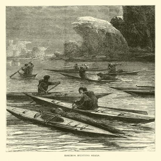 Eskimos Hunting Seals--Giclee Print