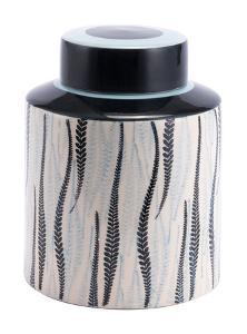 Espiga Large Jar White & Black