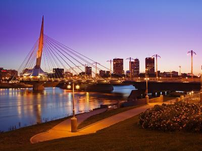 Esplanade Riel Bridge over the Red River, Winnipeg, Manitoba, Canada, North America-Richard Cummins-Photographic Print