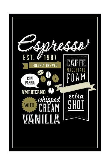 Espresso Freshly Brewed (black)-Lantern Press-Art Print