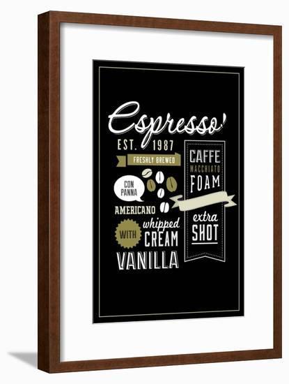 Espresso Freshly Brewed (black)-Lantern Press-Framed Art Print