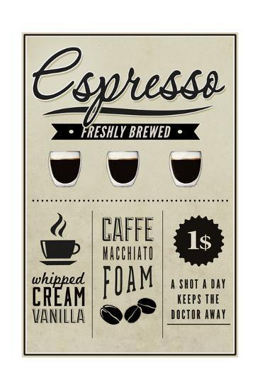 Espresso Freshly Brewed (cream)-Lantern Press-Art Print