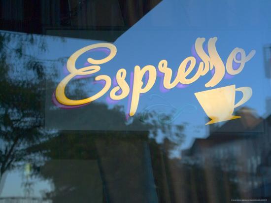 Espresso Sign in Cafe Window, Portland, Oregon, USA-Janis Miglavs-Photographic Print