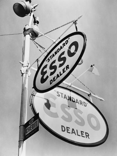Esso Gasoline Dealer Sign on Chestnut St. in Philadelphia in 1939--Photo
