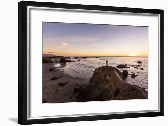 Estero Bay Along Hwy 1, California, USA: A Man Standing On A Cliff Looking Over Estero Bay-Axel Brunst-Framed Photographic Print