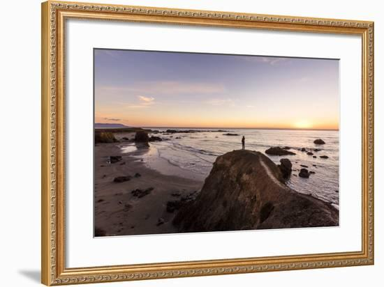 Estero Bay Along Hwy 1, California, USA: A Man Standing On A Cliff Looking Over Estero Bay-Axel Brunst-Framed Photographic Print