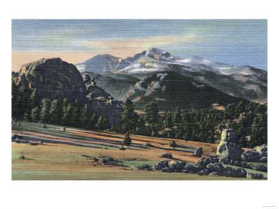 Estes Park, Colorado - Longs Peak View-Lantern Press-Art Print