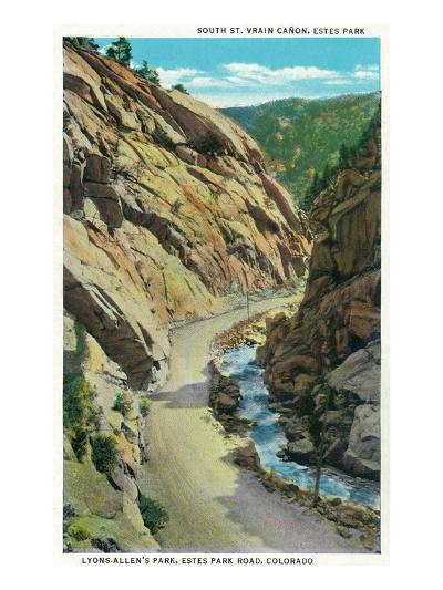 Estes Park, Colorado - Lyons-Allen's Park View of South St. Vrain Canyon-Lantern Press-Art Print
