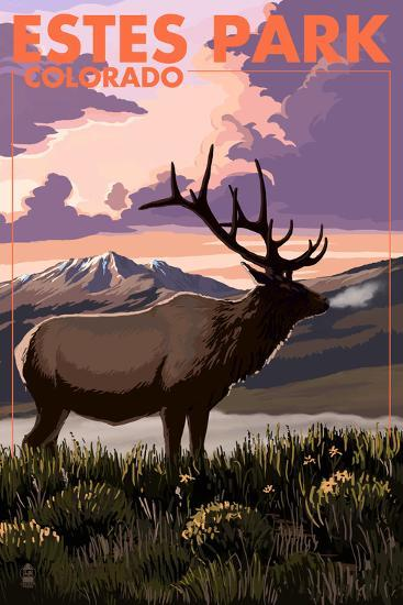 Estes Park Village, Colorado - Elk and Sunset-Lantern Press-Wall Mural