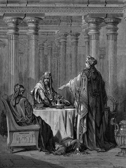 Esther (C450 B) before Her Husband King Ahasuerus (Xerxes) of Persia, 1866-Gustave Dor?-Giclee Print
