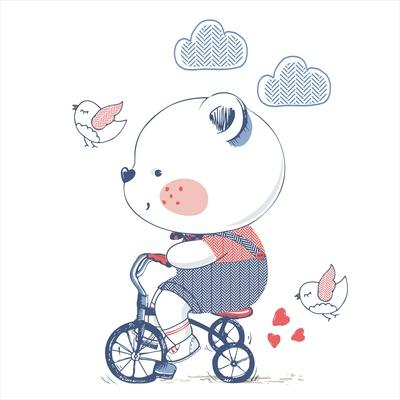 Bear/Hand Drawn Vector Illustration of Cute Bear Riding a Bicycle/Tricycle/Can Be Used for Kid's Or