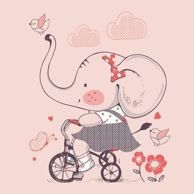 Elephant/Hand Drawn Vector Illustration of Cute Elephant Girl Riding a Bicycle/Tricycle/Can Be Used