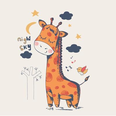 Hand Drawn Vector Illustration of Cute Giraffe Slipping in the Night/Can Be Used for Kid's or Baby'