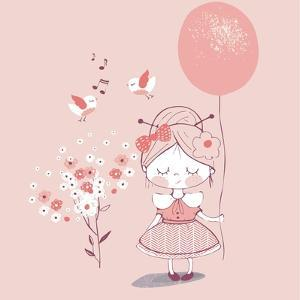 Hand Drawn Vector Illustration of Cute Girl with Balloon /Can Be Used for Kid's or Baby's Shirt Des by Eteri Davinski