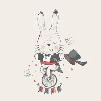 Rabbit/Bunny Ridding/Bicycle/Hand Drawn Vector Illustration in Vintage Style/ Gentleman/Can Be Used