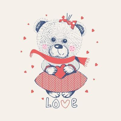 Winter Girl Bear/Hand Drawn Vector Illustration/ Can Be Used for Kid's or Baby's Shirt Design/ Fash