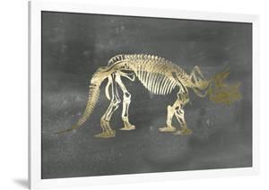 Gold Foil Dinosaur on Black Wash by Ethan Harper