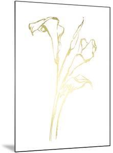 Gold Foil Floral Ink Study IV by Ethan Harper