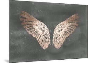 Rose Gold Foil Wings II on Black Wash by Ethan Harper
