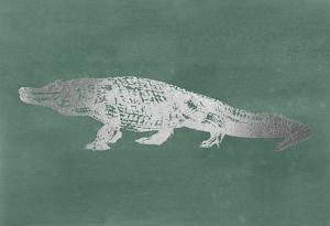 Silver Foil Alligator on Blue Green Wash by Ethan Harper