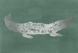 Silver Foil Crocodile on Blue Green Wash by Ethan Harper