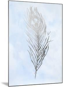 Silver Foil Feather II on Blue by Ethan Harper