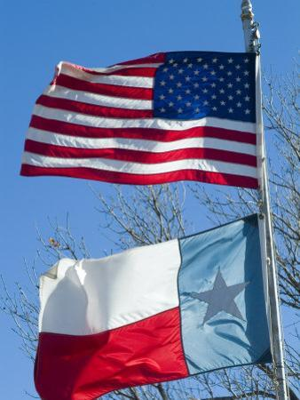 American and Texan Flags, Texas, USA