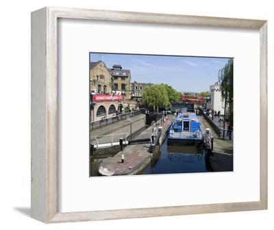 Boat Going Through Camden Lock, London, England, United Kingdom, Europe