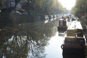 Canal Boats on the Regent's Canal, Little Venice, London, England, United Kingdom, Europe by Ethel Davies