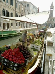 Canalside Vegetable Market Stall, Venice, Veneto, Italy by Ethel Davies