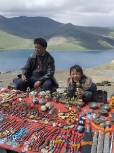 Craft Stand, Turquoise Lake, Tibet, China by Ethel Davies