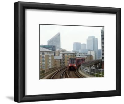 Docklands Light Railways Looking Towards Canary Wharf, London, England, United Kingdom, Europe