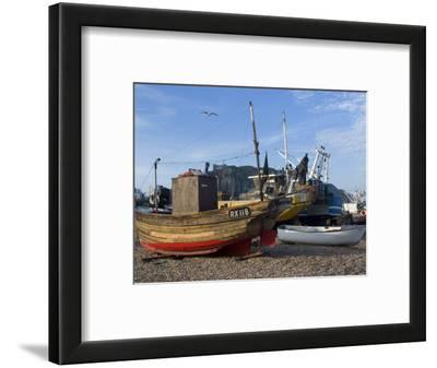 Fishing Boats on Pebble Beach at Hastings, Hastings, Sussex, England, United Kingdom, Europe