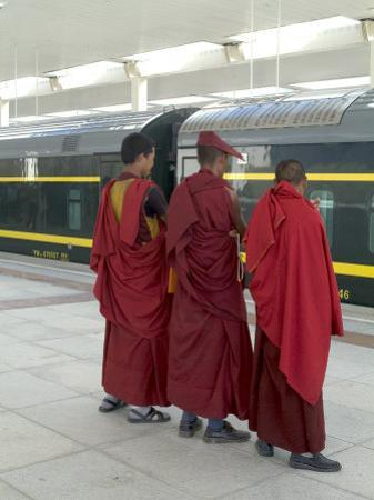 Lamas Awaiting Arrival of Train, New Railway Station, Beijing to Lhasa, Lhasa, Tibet, China