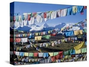 Prayer Flags, Himalayas, Tibet, China by Ethel Davies