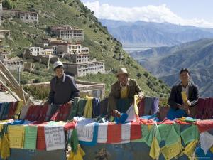 Selling Prayer Flags, Ganden Monastery, Near Lhasa, Tibet, China by Ethel Davies