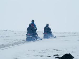 Skidooing on Langjokull Glacier, Iceland, Polar Regions by Ethel Davies