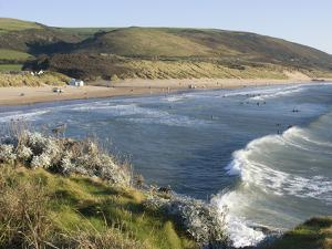 The Beach with Surfers at Woolacombe, Devon, England, United Kingdom, Europe by Ethel Davies