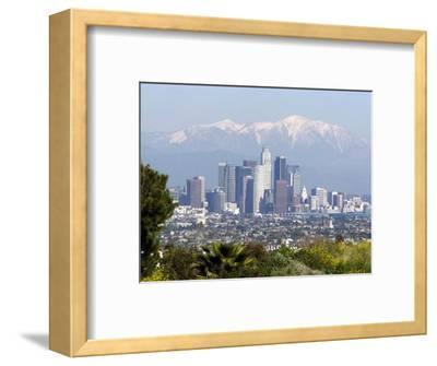 View of Downtown Los Angeles Looking Towards San Bernardino Mountains, California, USA