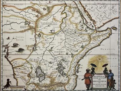 Ethiopia Old Map. Created By Joan Blaeu, Published In Amsterdam 1650-marzolino-Art Print