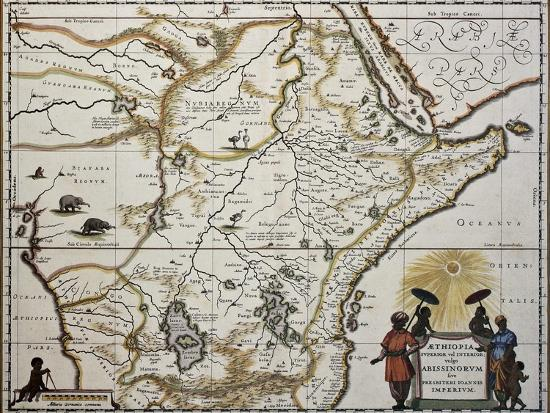 Ethiopia old map created by joan blaeu published in amsterdam 1650 ethiopia old map created by joan blaeu published in amsterdam 1650by marzolino gumiabroncs Images