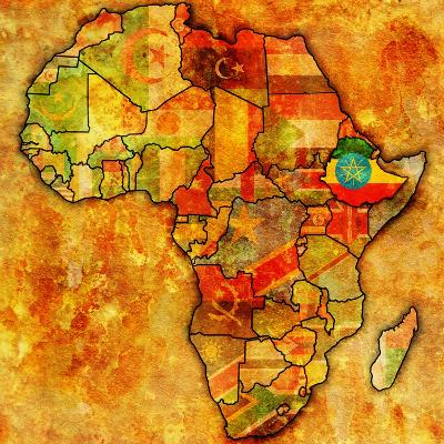 Ethiopia on Actual Map of Africa-michal812-Art Print