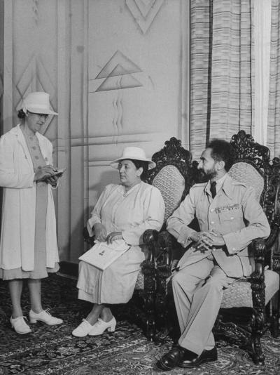 Ethiopian Royal Servant Della Hanson Talking with King Haile Selassie and His Wife--Photographic Print