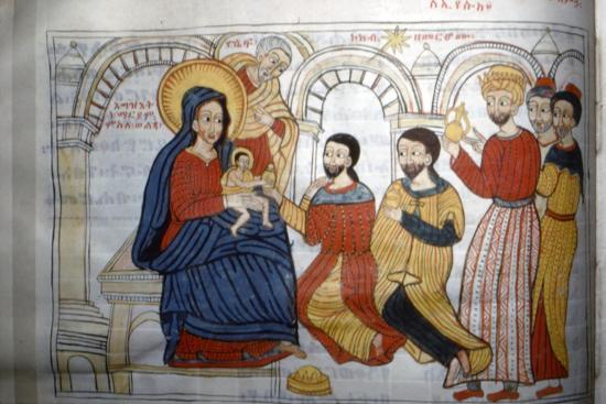 Ethopian Manuscript Illustration of the 'Adoration of the Magi', c1664-1667-Unknown-Giclee Print