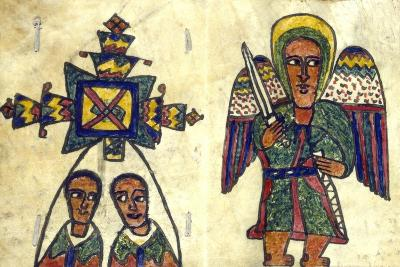 Ethopian Prayer Book Showing an Angel with a Sword and Two Men, Possibly Priests, 19th Century--Giclee Print