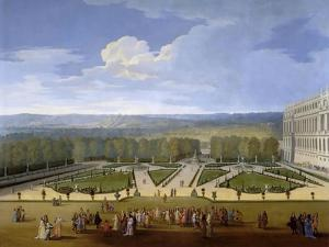 Louis XIV and His Court on a Promenade in the Gardens of Versailles by Etienne Allegrain