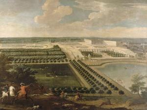 Vue de l'Orangerie, des parterres et du château de Versailles prises des hauteurs de Satory by Etienne Allegrain