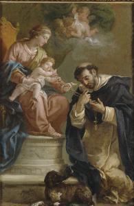 The Virgin and Child Giving the Rosary to St. Dominic by Etienne Parrocel